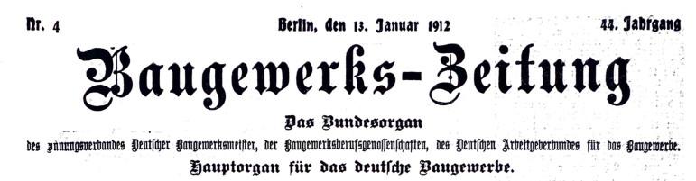 """Die Rodenberger """"Volkschule"""" i. d. Baugewerkszeitung von 1912"""